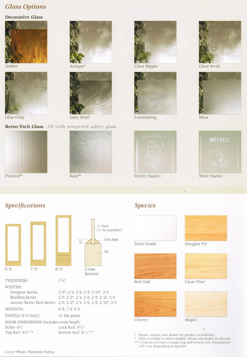 Glass and Wood Species Options